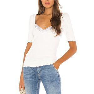 Free People White Margaux Sweetheart Blend Tee M